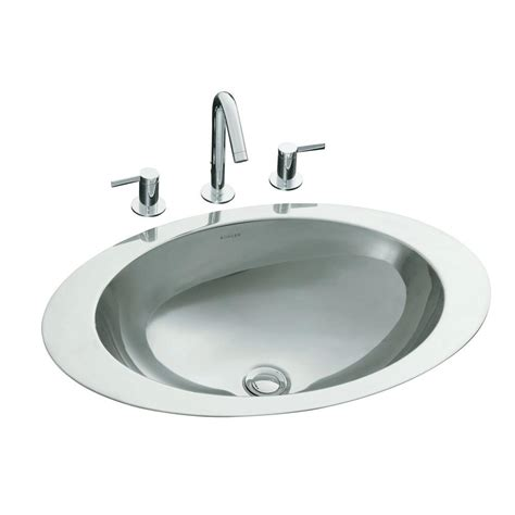 oval stainless steel bathroom sinks decolav simply stainless drop in bathroom in