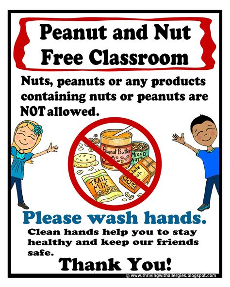 printable allergy poster thriving with allergies food allergy alert daycare school