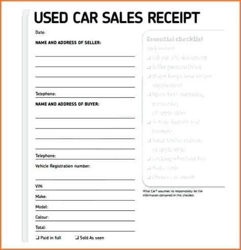 Used Car Receipt Word Template by Used Car Sellers Receipt Kinoroom Club