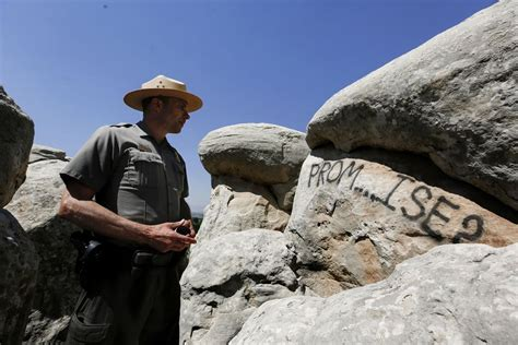 national monument rocks defaced  spray painted