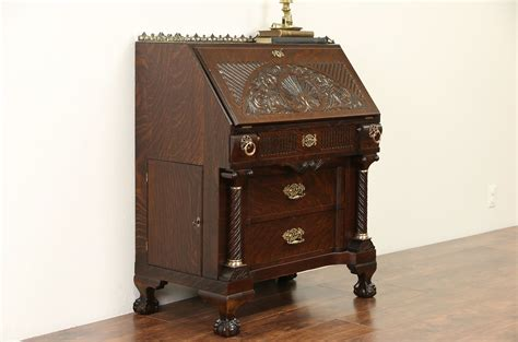 sold oak carved  antique secretary desk secret