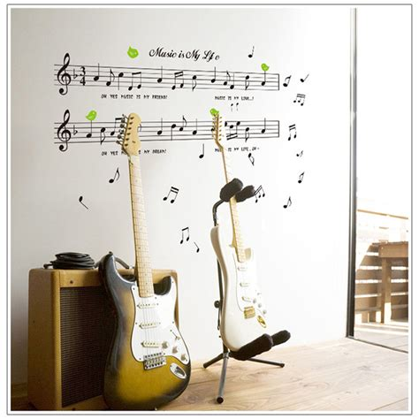 music decor for bedroom 1set large size 70 120cm music sticker music is my life