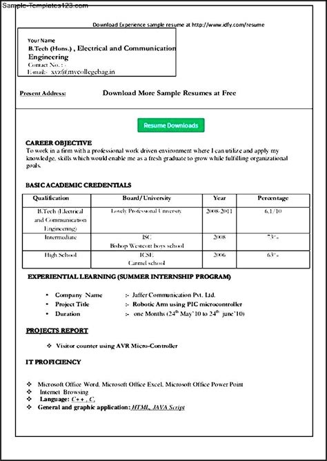 simple resume template word sle templates sle