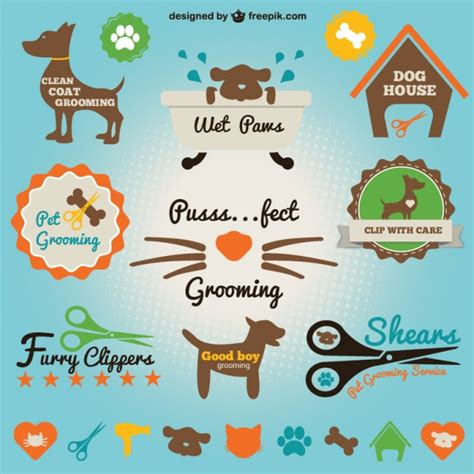 retro style pet icons set vector free download pet salon icons set vector free download