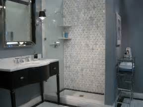 Blue Gray Bathroom Ideas Black Washstand Transitional Bathroom