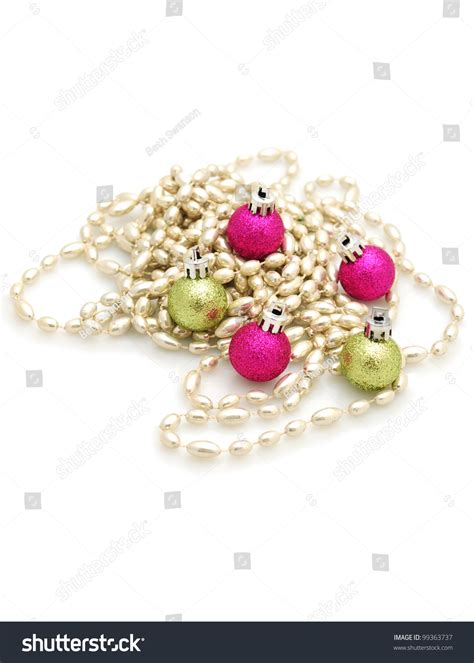pink and green tree decorations pink green and silver tree decorations stock