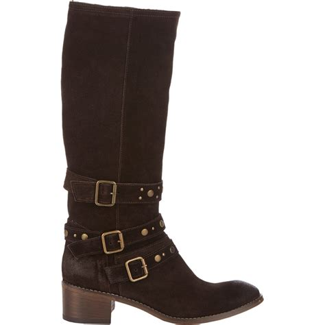 barneys new york studded knee boots in brown lyst