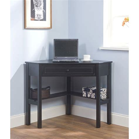 Simple Living Black Wood Corner Computer Desk With Drawer Corner Desk Black
