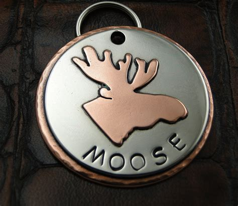 Handmade Pet Tags - moose custom id tag handmade pet collar tag personalized