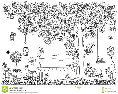 doodlebug park vector illustration zentangle park garden bench