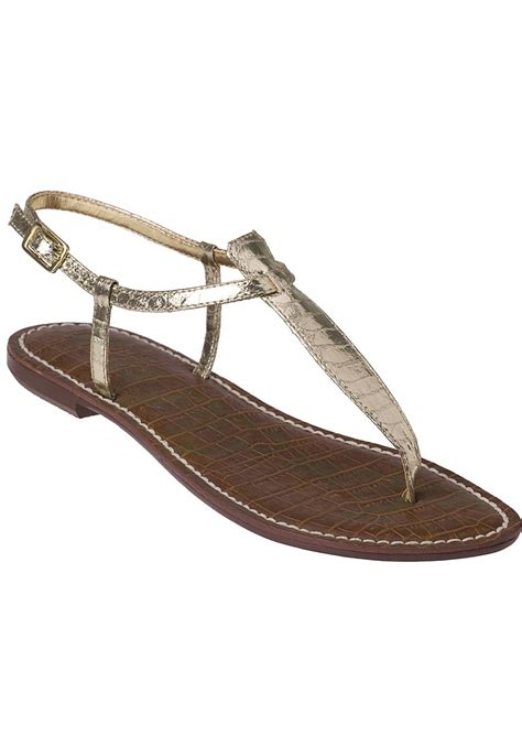 sam edelman gold sandals sam edelman gigi flat sandal gold croc in metallic lyst