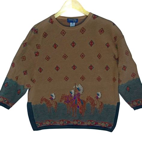 Columbus Tribal Sweater by Vintage 90s Indian American Southwestern Wool