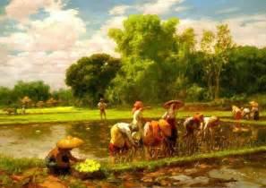 Landscape Definition Tagalog Rice Planting F Amorsolo 1949 On Canvas 61 X 86