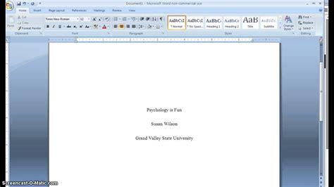 apa cover page formatting gvsu