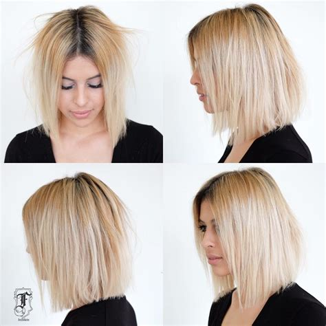 before and after cool blonde chic cut neil george the truth about medium length blonde hair is about to be