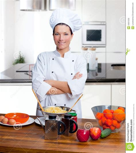 in the kitchen chef woman portrait in the kitchen stock image image