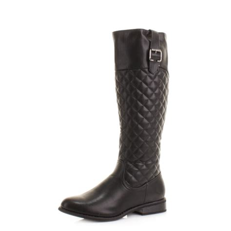womens slim calf fit quilted knee high flat