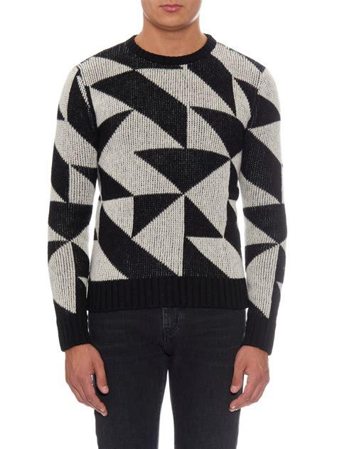21537 Black Geomatric Sweater Laurent Geometric Wool Knit Sweater In Black For