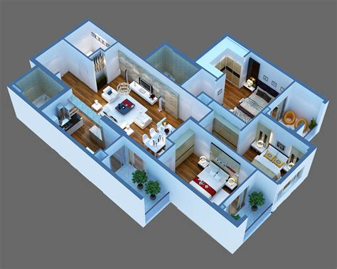 luxury detailed house cutaway 3d model 3d model interior