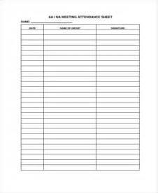 na meeting format template aa meeting attendance sheet vertola