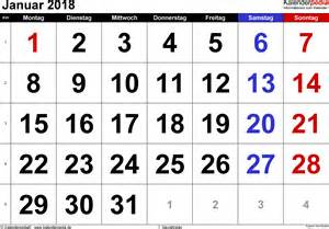 Kalender 2018 Januari Kalender Januar 2018 Als Excel Vorlagen