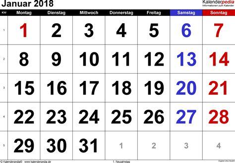 Januar 2018 Kalender Kalender Januar 2018 Als Excel Vorlagen