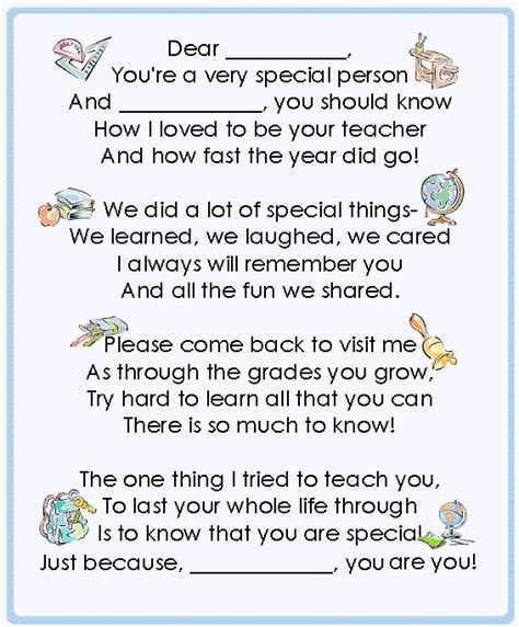 Thank You Note To Preschool End Of Year end of the year lessons ideas printables gifts for