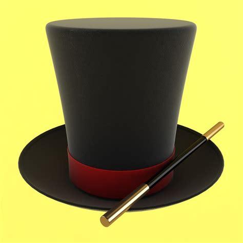 3d magician hat wand