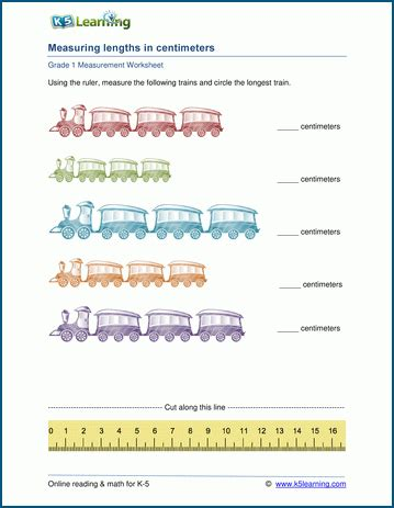 grade 1 measurement worksheet measuring length with a