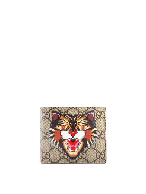 Cat Print Wallet angry cat print gg supreme wallet by gucci wallets