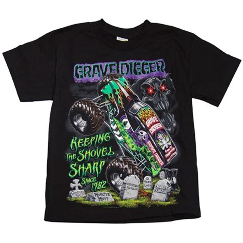 grave digger monster truck merchandise grave digger shovel tee