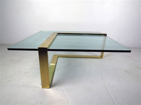 glass table l brass l shape coffee table with glass top at 1stdibs