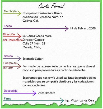 de carta formal e informal castellano grado octavo formato carta formal e informal