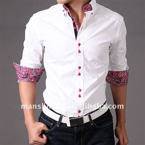 Contrast Collar Shirt slim fit contrast collar white fashion dress shirt