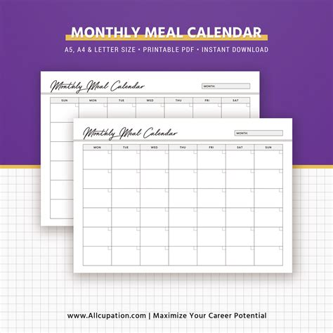 printable calendar refills for planners weekly meal planner inserts menu planner printable meal