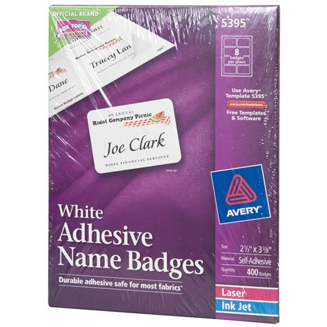 avery name badges template 2 1 3 x 3 3 8 quot avery white name badge labels 5395