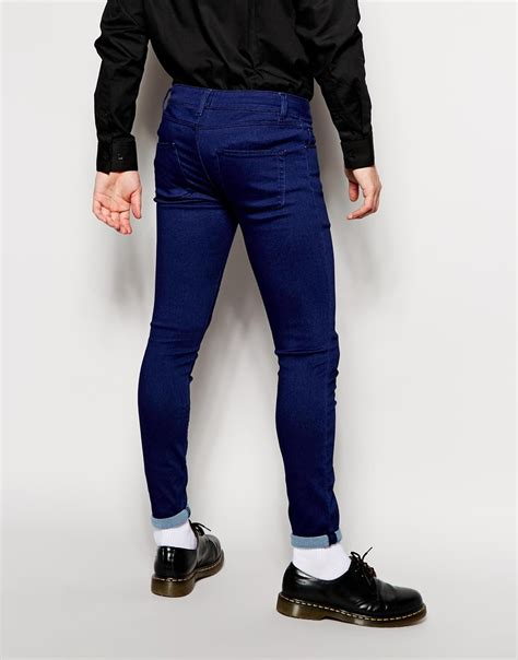 super skinny jeans shop for mens super skinny jeans asos asos extreme super skinny jeans in knitted fabric in blue