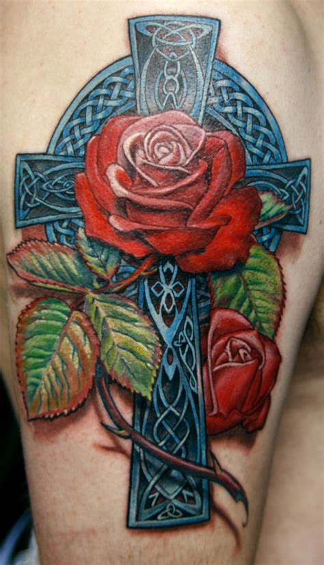tattoo cross with roses designs celtic tattoos and designs page 348