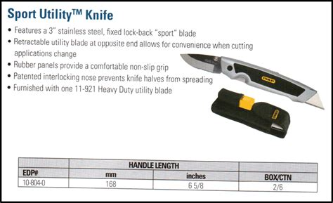 Stanley 10 804 Sport Utility Knife 168mm Usa stanleytools just another site