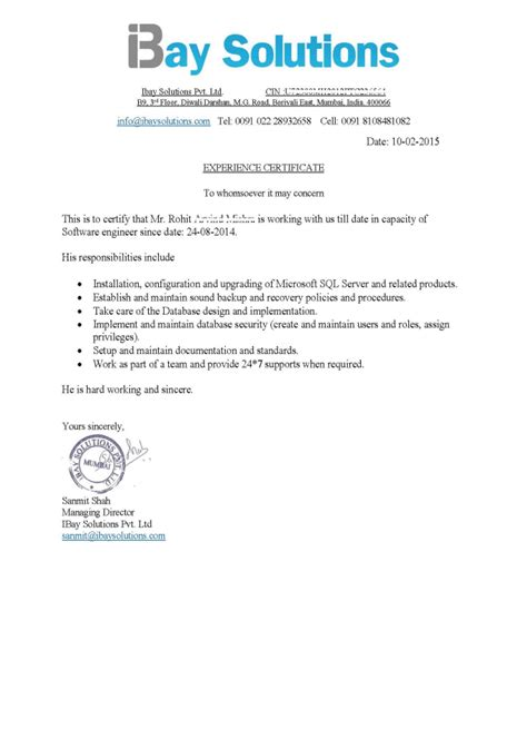 Experience Letter Providing Consultancy provide letter of reference or work experience certificate