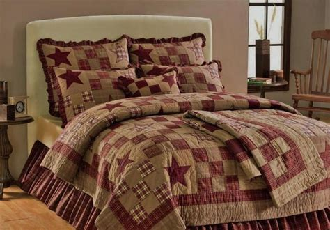 star patch americana primitive 4pc queen king quilt shams