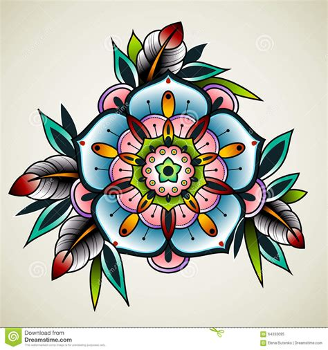 old style tattoos designs school flower stock vector illustration of