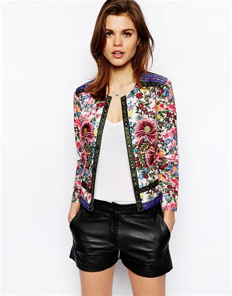 Floral Jacket asos asos jacket with statement floral embroidery at asos