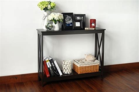 Sofa Table Bookshelf by Espresso Finish 3 Tier X Design Occasional Console Sofa
