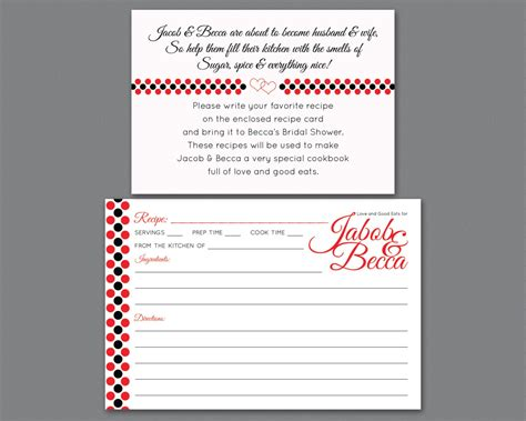 bridal shower recipe invitations bridal shower invitation insert printable recipe request