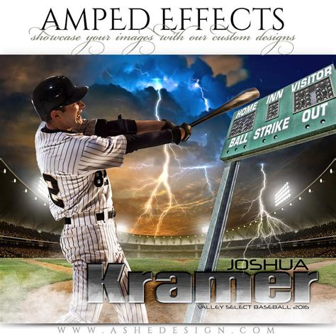 Ashe Design Amped Effects Photoshop Templates Sports Poster 16x20 Lightning Strikes Ashe Photoshop Templates