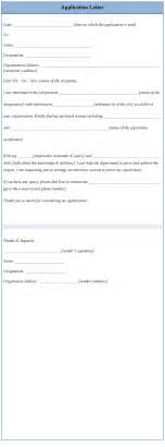 letter of application template sle application letter template