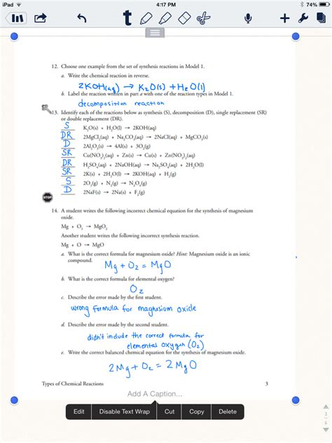 Type Of Chemical Reactions Worksheet by Worksheets Science Review Chemical Vs Physical