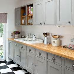 grey shaker style kitchen with wooden worktop decorating housetohome co uk