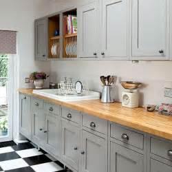 Grey shaker style kitchen with wooden worktop kitchen decorating
